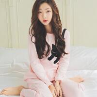 春装新款纯棉长袖睡衣女春夏时尚全棉学生可爱韩版家居服套装 刺绣猫套装8701