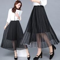 2018春季新新蕾丝半身裙高腰休闲时尚中长裙中年裙子网纱蓬蓬裙