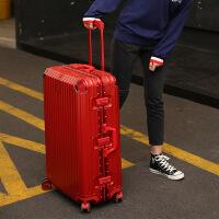 行礼拉箱女拉杆箱PC万向轮行李箱铝框24寸旅行箱登机密码箱行李箱 男