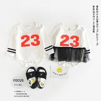 AB29023-春款新品婴幼儿男女童运动风纯棉爬服哈衣送袜子