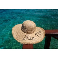 拉菲草帽子女夏季字母遮阳帽防晒帽沙滩帽子女式夏季海边度假帽子 本色 可调节