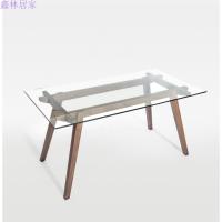现代简约北欧长方形钢化玻璃餐桌创意实木饭桌 黑胡桃1.5米单
