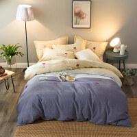 纯棉四件套加厚磨毛全棉单双人床单被套1.5米1.8m秋冬季床上用品 2.2m床(被套220*240cm 床单245*2