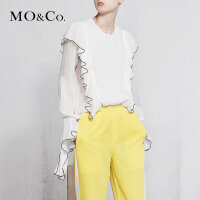 MOCO18年春季新品圆领荷叶边灯笼袖纯色上衣女MA181TOP103 摩安珂
