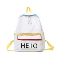 双肩包 女士字母印花拉链竖款方型耐磨书包2020年新款韩版气质时尚女式休闲百搭帆布包