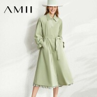 【到手价:301元】Amii极简英伦风A字型风衣2020春新款长款绑带收腰显高过膝外套女