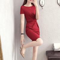 女装新款红色连衣裙2018夏季时尚修身中腰OL减龄职业包臀裙工作服 红色 XX