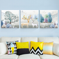 客厅装饰画沙发背景墙现代简约无框画卧室床头挂画三联画壁画墙画