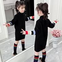 女童毛衣加绒新款秋冬装儿童装洋气女孩长款打底衫