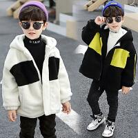 男童秋冬外套潮冬季毛毛衣童装儿童加绒上衣棉衣