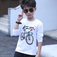 男童长袖T恤春秋儿童纯棉打底衫中大童白色衣服男孩上衣