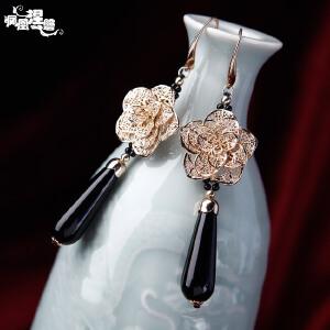 凤凰涅磐原创黑玛瑙耳环长款女铜底镀真金镂空花时尚手工饰品