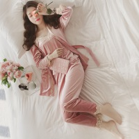 秋冬性感金丝绒睡衣长袖开衫吊带背心套装女花边长裤家居服三件套