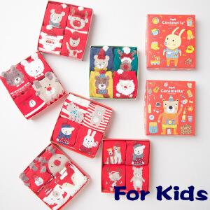 新品圣诞主题儿童棉袜4双礼盒装