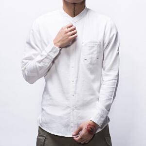 【艾酷狼】男装2017春夏新款个性口袋立领修身棉麻长袖衬衫男亚麻舒适大码