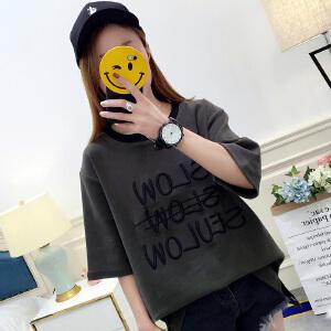 2018夏装新款韩版潮女装卡通字母图案打底衫上衣女学生