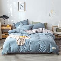 水洗棉全棉四件套纯棉床单被套三件套北欧风纯色双拼双人四件套床笠款床上用品
