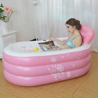 儿童洗澡盆充气浴缸浴盆折叠洗澡桶夹棉底加厚