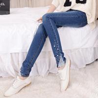 镶钻蕾丝牛仔裤韩版小脚裤显瘦带钻钉珠长裤弹力女裤