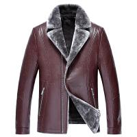 秋冬新款男士西装领皮毛一体外套真皮夹克男机车皮衣加绒加厚 紫红色 0/88(M)