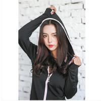 清新韩版长袖连帽外套吸湿排汗速干运动外套女士运动帽衫健身训练瑜伽上衣