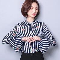 实拍印花雪纺衫女长袖春季新款条纹百搭韩版喇叭袖衬衫