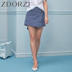 卓多姿2018夏装新款纽扣装饰条纹短裙裤女736E396