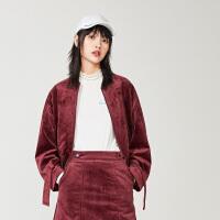 太平鸟丝绒短外套女2019秋季新款短款长袖收腰上衣宽松休闲外套女