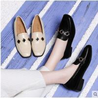 古奇天伦新款女鞋中跟粗跟春季单鞋英伦风小皮鞋秋冬一脚蹬乐福鞋AQ03343
