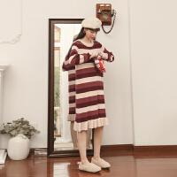 条纹针织连衣裙2019冬季新款女装韩版宽松复古荷叶边长袖中长裙子