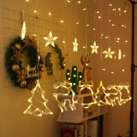 led小鹿星星小彩灯闪灯串灯满天星窗帘挂灯房间网红圣诞节装饰品 暖白-新年套装 3.5米带尾接