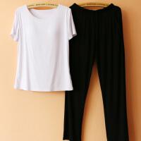 可外穿 带胸垫睡衣女夏莫代尔短袖加大码休闲瑜伽运动家居服套装 白色 短BRA-T+黑长裤