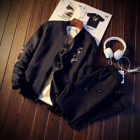 男士外套春秋韩版学生夹克外套搭配运动裤潮流一套装修身休闲衣服 S 收藏*品