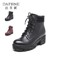 Daphne/达芙妮厚底粗跟英伦风马丁靴女简约绑带中跟短筒皮靴
