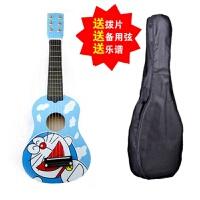 21寸木制儿童吉他它儿童乐器6弦吉它声乐练习可弹奏送拨片乐谱 白蓝 蓝猫真弦无背+包