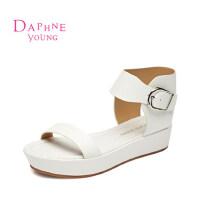 Daphne/达芙妮凉鞋 韩版中跟平底扣带露趾凉鞋1515303051