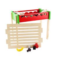木制仿真过家家儿童厨房玩具套装果蔬切切水果BBQ烧烤男女孩礼物