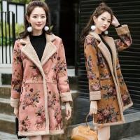 冬季鹿皮绒外套女中长款2017韩版印花皮毛一体仿羊羔毛大衣加厚