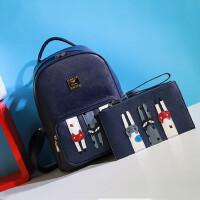 小猫双肩背包休闲潮包两件套可爱学院风中学生书包女旅行包