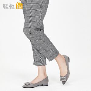 Daphne/达芙妮 鞋柜2018春季新款杜拉拉浅口粗跟女鞋尖头低跟单鞋