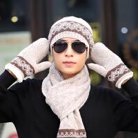 冬季男毛线帽子围巾手套三件套装针织羊毛线生日圣诞礼物