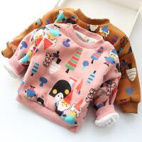 女童加绒保暖卫衣冬季新款宝宝卡通满印超柔软细绒打底衫绒衫