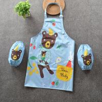 SM 新款卡通拼色儿童罩衣宝宝防水吃饭衣围裙儿童画画衣绘画衣