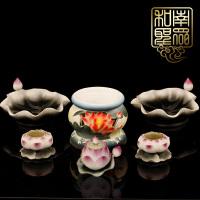 佛教用品佛堂陶瓷彩绘莲花观音供具供盘供水杯香炉烛台供灯