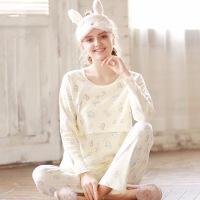梦蜜 卡通甜甜圈纯棉孕妇秋衣裤产后哺乳睡衣秋季横开口喂奶套装