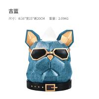 创意家居饰品动物摆件现代简约客厅茶几招财狗工艺品卫生间纸巾盒