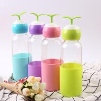 开业礼品定制LOGO新款创意时尚便携小草玻璃水杯创意豆芽杯超萌随手杯学生杯