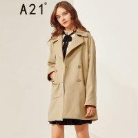 A21以纯线上品牌2017冬季新品中长款毛呢外套女 时尚翻领简约女大衣4742124001