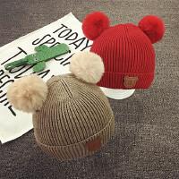 宝宝帽子男童帽冬季保暖女孩套头帽儿童针织毛线帽秋天韩版护耳潮