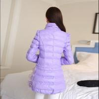 冬装新品韩版修身显瘦中长款PU皮外套大码立领棉衣棉袄女